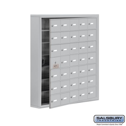 Cell Phone Storage Locker - with Front Access Panel - 7 Door High Unit (5 Inch Deep Compartments) - 35 A Doors (34 usable) - Surface Mounted - Master Keyed Locks