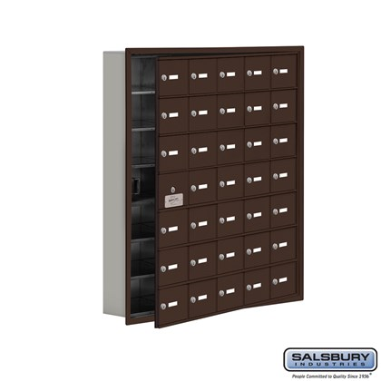 Cell Phone Storage Locker - with Front Access Panel - 7 Door High Unit (5 Inch Deep Compartments) - 35 A Doors (34 usable) - Bronze - Recessed Mounted - Master Keyed Locks