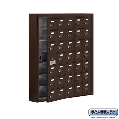 Custom Cell Phone Storage Locker - with Front Access Panel - 7 Door High Unit (5 Inch Deep Compartments) - 35 A Doors (34 usable) - Bronze - Surface Mounted - Resettable Combination Locks