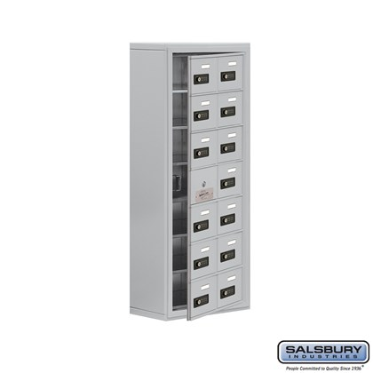 Cell Phone Storage Locker - with Front Access Panel - 7 Door High Unit (8 Inch Deep Compartments) - 14 A Doors (13 usable) - Surface Mounted - Resettable Combination Locks