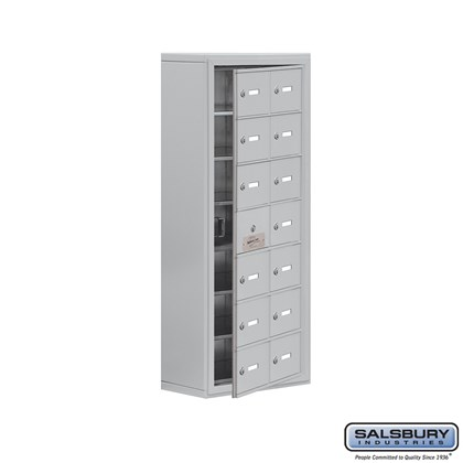 Cell Phone Storage Locker - with Front Access Panel - 7 Door High Unit (8 Inch Deep Compartments) - 14 A Doors (13 usable) - Surface Mounted - Master Keyed Locks