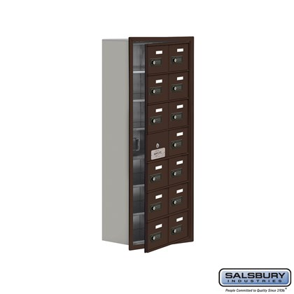 Custom Cell Phone Storage Locker - with Front Access Panel - 7 Door High Unit (8 Inch Deep Compartments) - 14 A Doors (13 usable) - Bronze - Recessed Mounted - Resettable Combination Locks