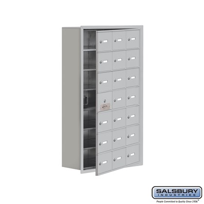 Custom Cell Phone Storage Locker - with Front Access Panel - 7 Door High Unit (8 Inch Deep Compartments) - 21 A Doors (20 usable) - Recessed Mounted - Master Keyed Locks