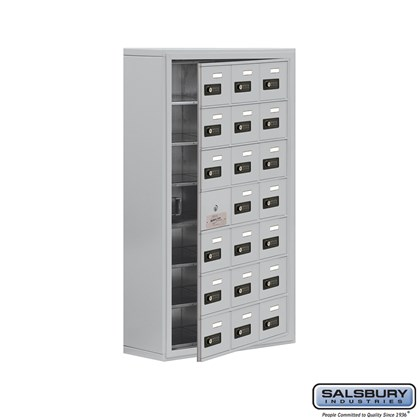 Cell Phone Storage Locker - with Front Access Panel - 7 Door High Unit (8 Inch Deep Compartments) - 21 A Doors (20 usable) - Surface Mounted - Resettable Combination Locks