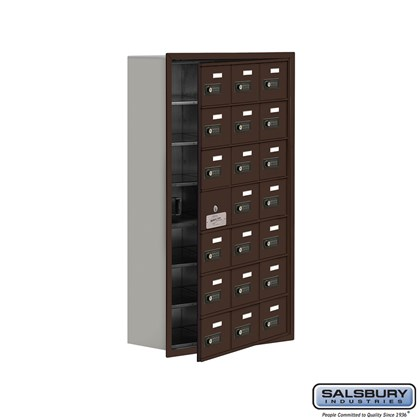 Cell Phone Storage Locker - with Front Access Panel - 7 Door High Unit (8 Inch Deep Compartments) - 21 A Doors (20 usable) - Bronze - Recessed Mounted - Resettable Combination Locks
