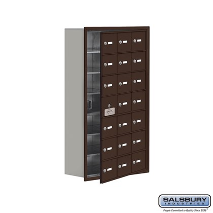 Cell Phone Storage Locker - with Front Access Panel - 7 Door High Unit (8 Inch Deep Compartments) - 21 A Doors (20 usable) - Bronze - Recessed Mounted - Master Keyed Locks