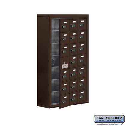 Custom Cell Phone Storage Locker - with Front Access Panel - 7 Door High Unit (8 Inch Deep Compartments) - 21 A Doors (20 usable) - Bronze - Surface Mounted - Resettable Combination Locks