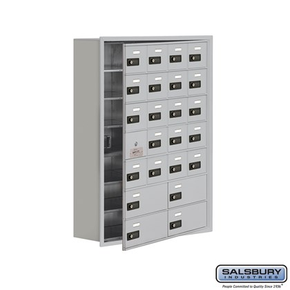 Custom Cell Phone Storage Locker - with Front Access Panel - 7 Door High Unit (8 Inch Deep Compartments) - 20 A Doors (19 usable) and 4 B Doors - Recessed Mounted - Resettable Combination Locks