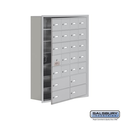 Custom Cell Phone Storage Locker - with Front Access Panel - 7 Door High Unit (8 Inch Deep Compartments) - 20 A Doors (19 usable) and 4 B Doors - Recessed Mounted - Master Keyed Locks
