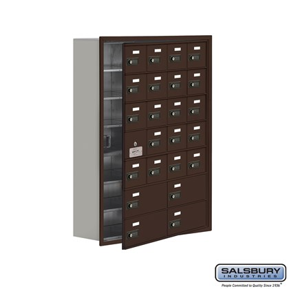 Cell Phone Storage Locker - with Front Access Panel - 7 Door High Unit (8 Inch Deep Compartments) - 20 A Doors (19 usable) and 4 B Doors - Bronze - Recessed Mounted - Resettable Combination Locks
