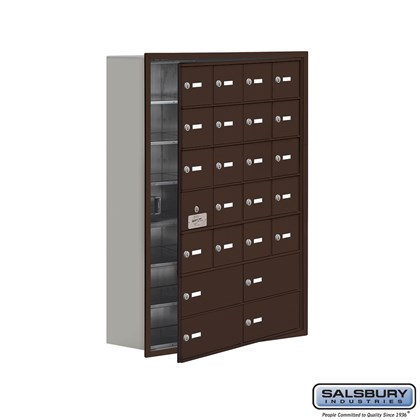Cell Phone Storage Locker - with Front Access Panel - 7 Door High Unit (8 Inch Deep Compartments) - 20 A Doors (19 usable) and 4 B Doors - Bronze - Recessed Mounted - Master Keyed Locks