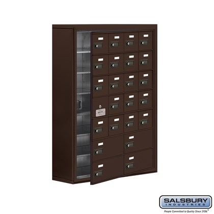 Cell Phone Storage Locker - with Front Access Panel - 7 Door High Unit (8 Inch Deep Compartments) - 20 A Doors (19 usable) and 4 B Doors - Bronze - Surface Mounted - Resettable Combination Locks