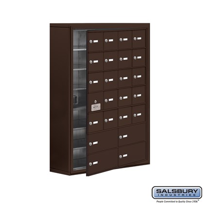 Cell Phone Storage Locker - with Front Access Panel - 7 Door High Unit (8 Inch Deep Compartments) - 20 A Doors (19 usable) and 4 B Doors - Bronze - Surface Mounted - Master Keyed Locks