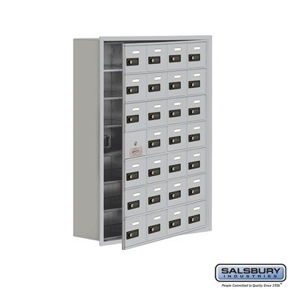 Cell Phone Storage Locker - 7 Door High Unit (8 Inch Deep Compartments) - 28 A Doors (27 usable) - Recessed Mounted - Resettable Combination Locks