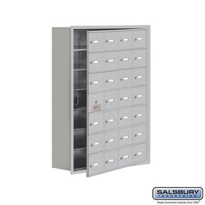 Cell Phone Storage Locker - 7 Door High Unit (8 Inch Deep Compartments) - 28 A Doors (27 usable) - Recessed Mounted - Master Keyed Locks