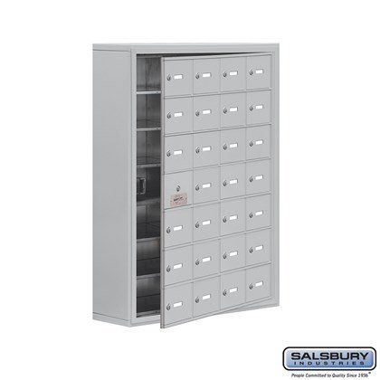 Cell Phone Storage Locker - 7 Door High Unit (8 Inch Deep Compartments) - 28 A Doors (27 usable) - Surface Mounted - Master Keyed Locks