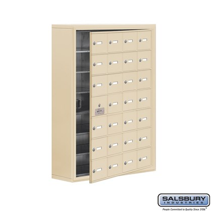 Cell Phone Storage Locker - 7 Door High Unit (8 Inch Deep Compartments) - 28 A Doors (27 usable) - Sandstone - Surface Mounted - Master Keyed Locks