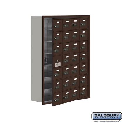 Cell Phone Storage Locker - 7 Door High Unit (8 Inch Deep Compartments) - 28 A Doors (27 usable) - Bronze - Recessed Mounted - Resettable Combination Locks