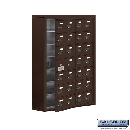 Cell Phone Storage Locker - 7 Door High Unit (8 Inch Deep Compartments) - 28 A Doors (27 usable) - Bronze - Surface Mounted - Resettable Combination Locks