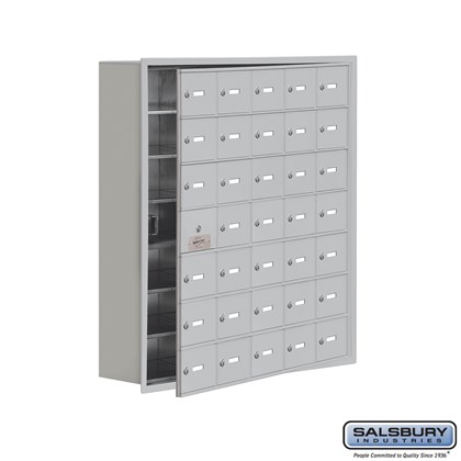 Custom Cell Phone Storage Locker - with Front Access Panel - 7 Door High Unit (8 Inch Deep Compartments) - 35 A Doors (34 usable) - Recessed Mounted - Master Keyed Locks