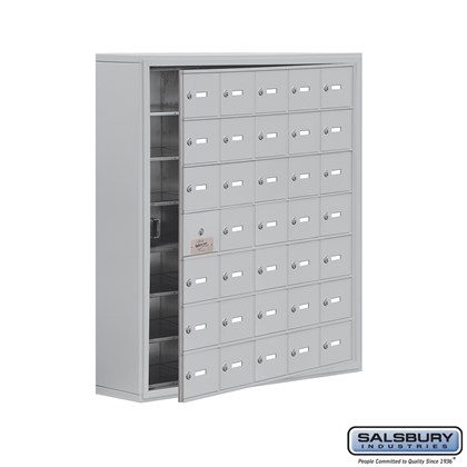 Cell Phone Storage Locker - with Front Access Panel - 7 Door High Unit (8 Inch Deep Compartments) - 35 A Doors (34 usable) - Surface Mounted - Master Keyed Locks