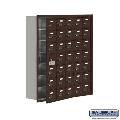 Cell Phone Storage Locker - with Front Access Panel - 7 Door High Unit (8 Inch Deep Compartments) - 35 A Doors (34 usable) - Bronze - Recessed Mounted - Resettable Combination Locks