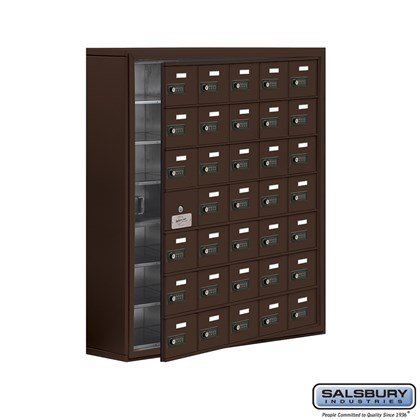 Cell Phone Storage Locker - with Front Access Panel - 7 Door High Unit (8 Inch Deep Compartments) - 35 A Doors (34 usable) - Bronze - Surface Mounted - Resettable Combination Locks