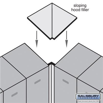 Sloping Hood Filler - Corner - for 24 Inch Deep Designer Wood Locker - Blue