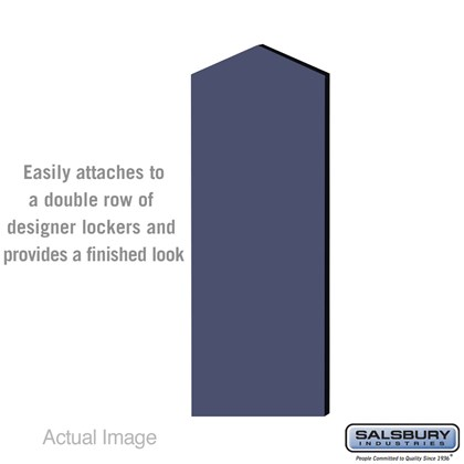 Double End Side Panel - for 5 Feet High - 21 Inch Deep Designer Wood Locker - with Sloping Hood - Blue