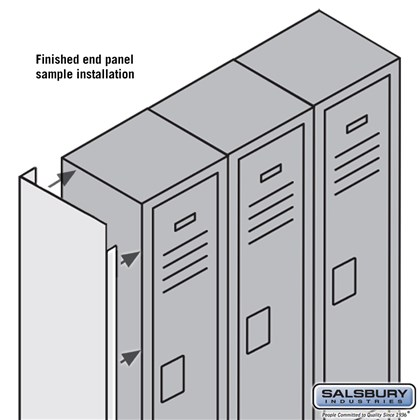 Finished End Panel - for 6 Feet High 12 Inch Deep Metal Locker - Tan