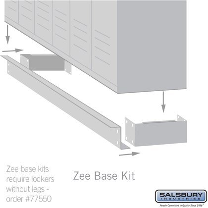Zee Base Kit - 4 Inches High, 6 Foot Length - for 12 Inch Deep Metal Lockers (Includes 6 Foot Front Base, 2 End Bases, Corner Splicer and 4 Rear Legs)