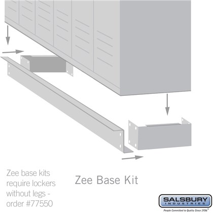 Zee Base Kit - 4 Inches High, 6 Foot Length - for 12 Inch Deep Metal Lockers (Includes 6 Foot Front Base, 2 End Bases, Corner Splicer and 4 Rear Legs) - Tan