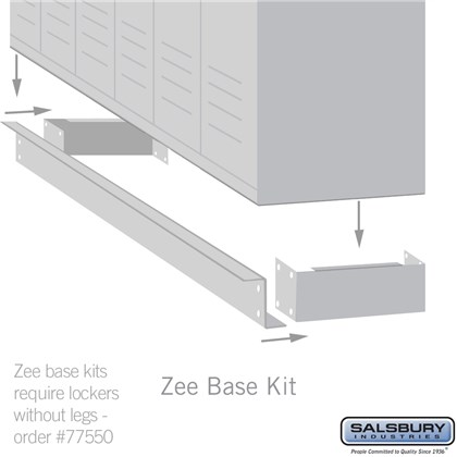 Zee Base Kit - 4 Inches High, 6 Foot Length - for 15 Inch Deep Metal Lockers (Includes 6 Foot Front Base, 2 End Bases, Corner Splicer and 4 Rear Legs)