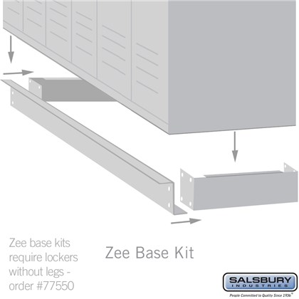 Zee Base Kit - 4 Inches High, 6 Foot Length - for 18 Inch Deep Metal Lockers (Includes 6 Foot Front Base, 2 End Bases, Corner Splicer and 4 Rear Legs) - Tan