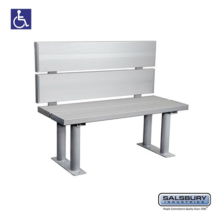 Aluminum ADA Locker Bench with back support - 42 Inches Wide