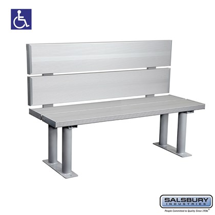 Salsbury Aluminum ADA Locker Bench with back support - 48 Inches Wide