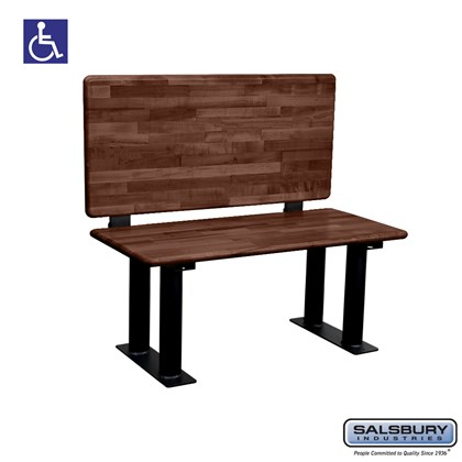 Wood ADA Locker Bench with back support- 42 Inches Wide - Dark Finish