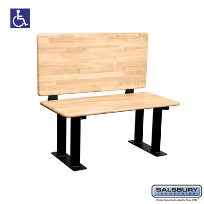 Wood ADA Locker Bench with back support - 42 Inches Wide