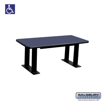 Designer Wood ADA Locker Bench - 42 Inches Wide - Blue