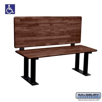 Salsbury Wood ADA Locker Bench with back support- 48 Inches Wide - Dark Finish