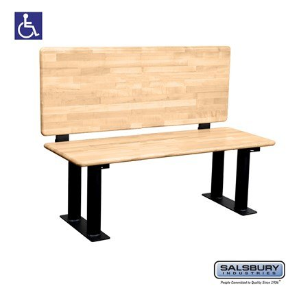 Salsbury Wood ADA Locker Bench with back support - 48 Inches Wide - Light Finish