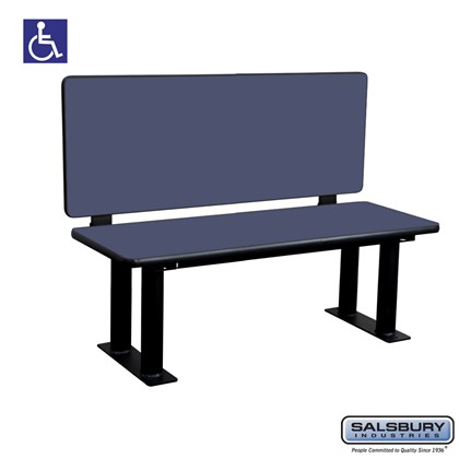 Salsbury Designer Wood ADA Locker Bench with back support - 48 Inches Wide - Blue