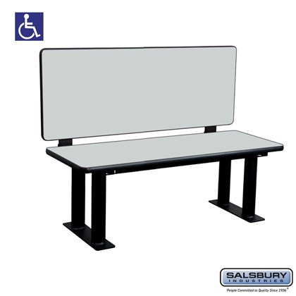 Salsbury Designer Wood ADA Locker Bench with back support - 48 Inches Wide