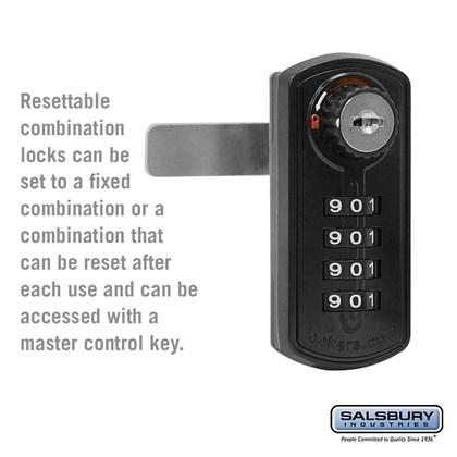 Resettable Combination Lock - Factory Installed on Metal Locker Door - Black