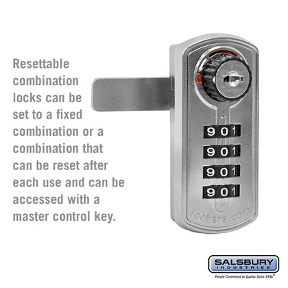 Resettable Combination Lock - Factory Installed on Metal Locker Door