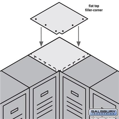 Flat Top Filler - Corner - for 15 Inch Deep Metal Locker - Tan