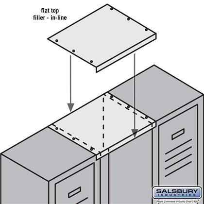 Flat Top Filler - In-Line - 15 Inch Wide - for 18 Inch Deep Metal Locker - Tan
