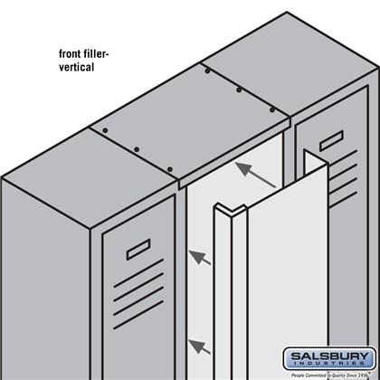 Front Filler - Vertical - 9 Inch Wide - for 6 Feet High Metal Locker - Tan