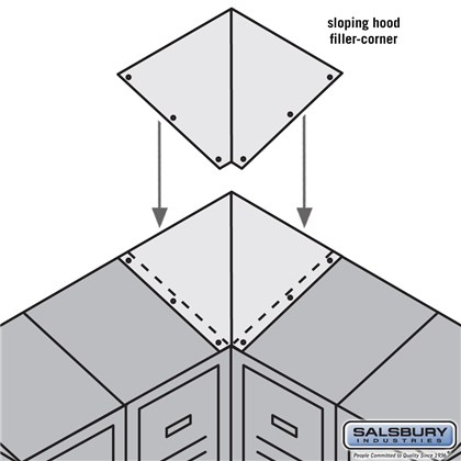 Sloping Hood Filler - Corner - for 15 Inch Deep Metal Locker - Tan