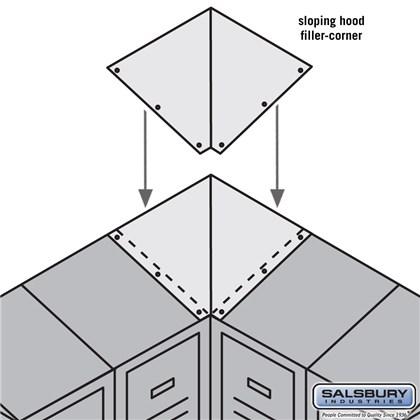 Sloping Hood Filler - Corner - for 18 Inch Deep Metal Locker - Tan